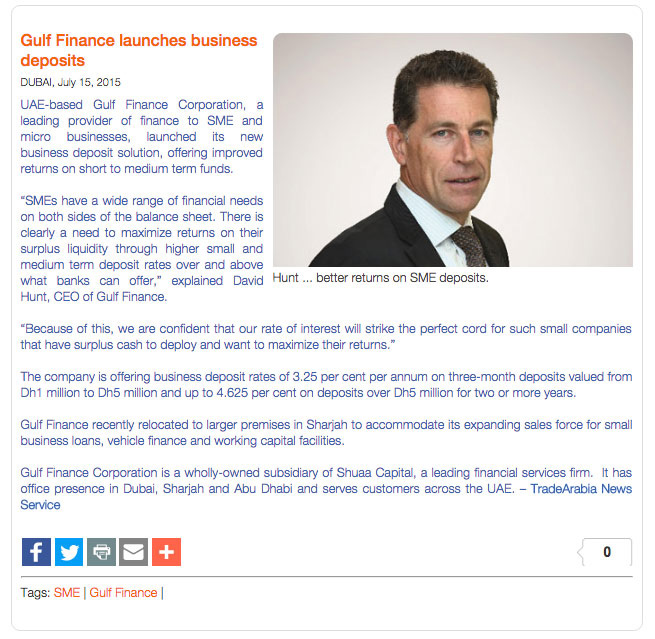 Press Release Gulf Finance Launches Business Deposits Image