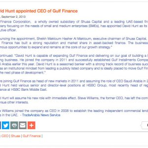 David Hunt Appointed CEO of Gulf Finance