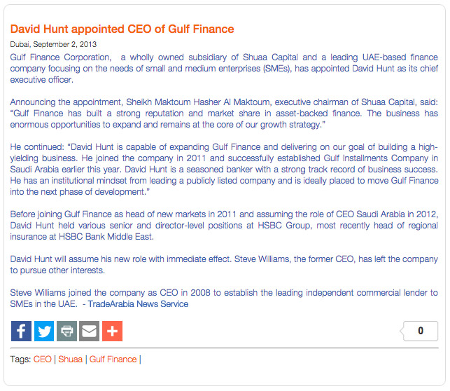 Press Release David Hunt Appointed CEO of Gulf Finance Image 1